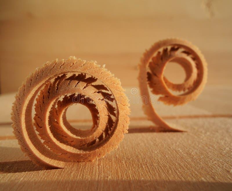 Virutas de madera espirales imagen de archivo libre de regalías