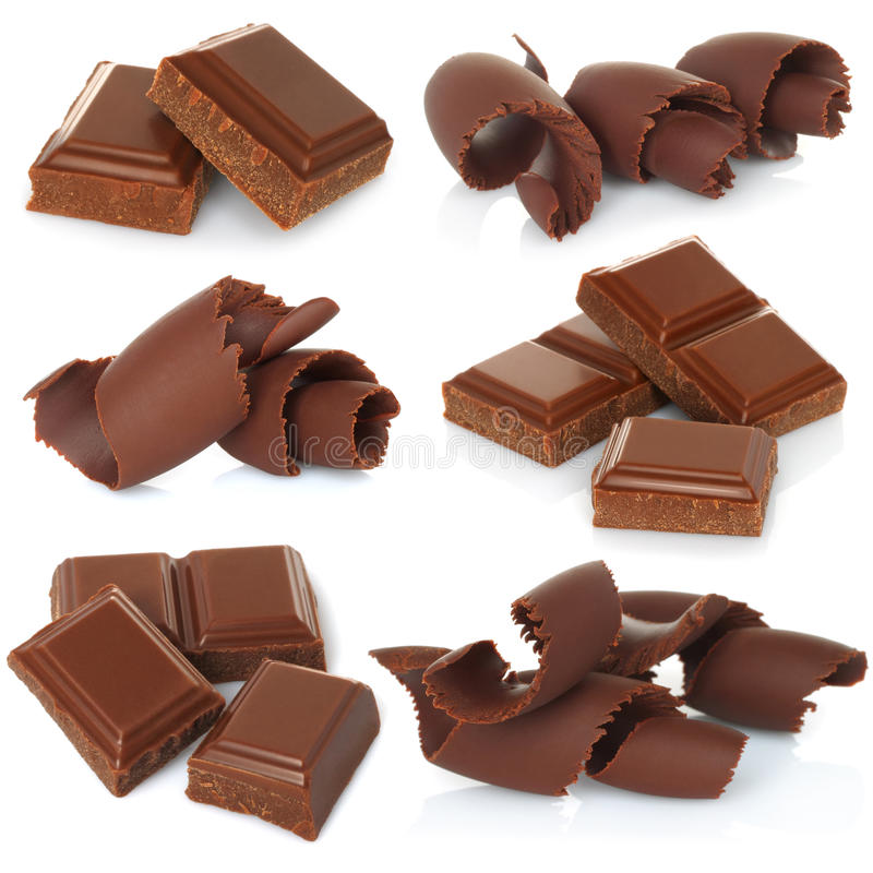 Virutas del chocolate con los bloques fijados imagenes de archivo