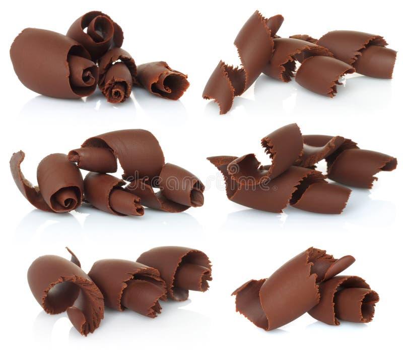 Virutas del chocolate fijadas fotos de archivo