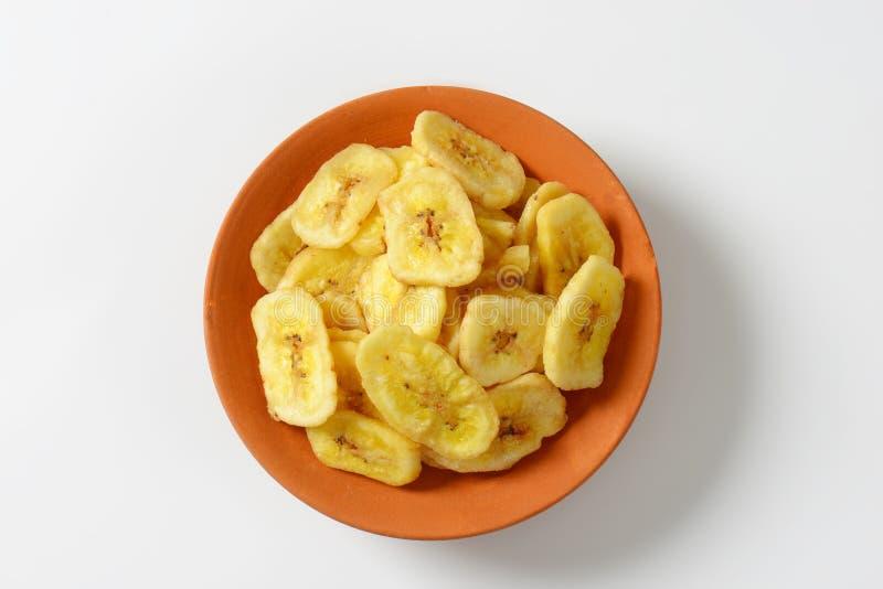 Virutas secadas del plátano imagenes de archivo