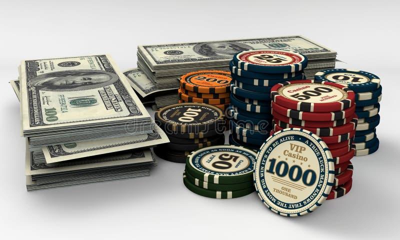 Virutas y dinero del casino stock de ilustración