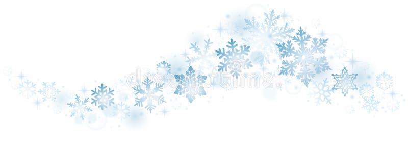 Virvel av blåa snöflingor royaltyfri illustrationer