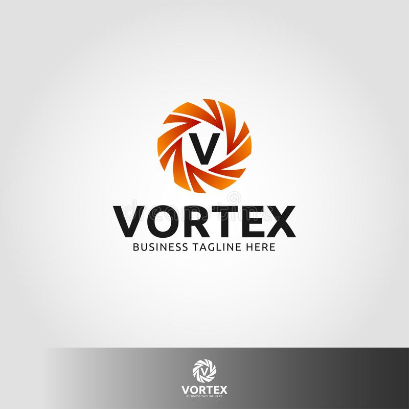 Virvel - logo för bokstav V stock illustrationer