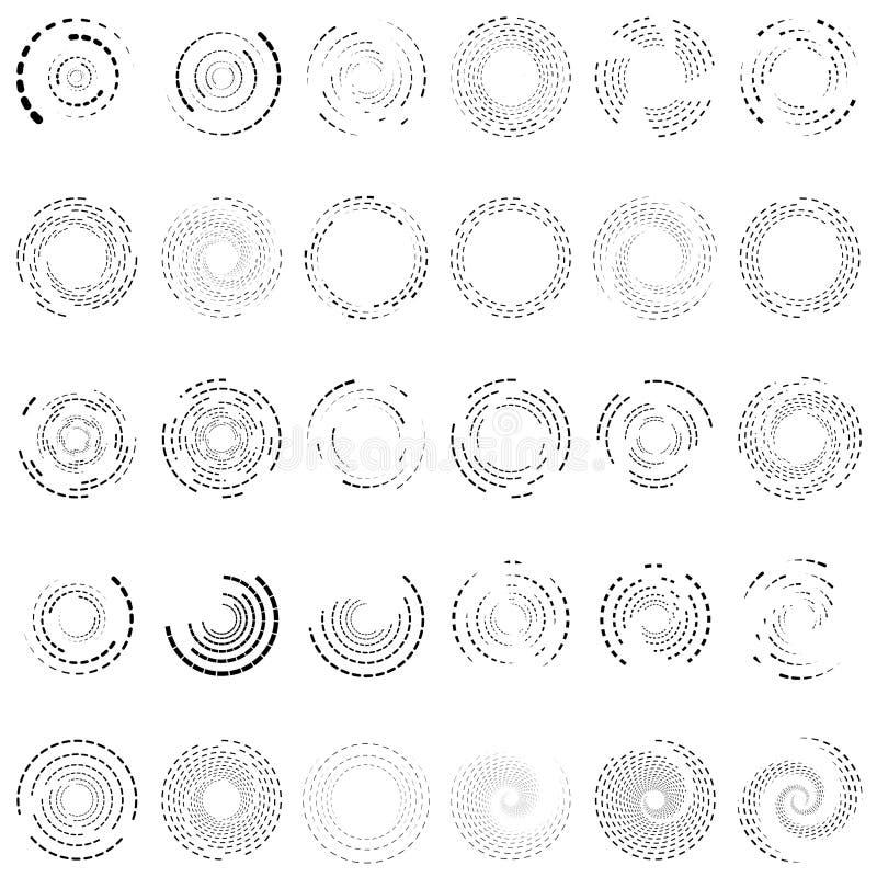 Virvel, spiral, virvelcirkel 30 Random, radiella, radiella linjer Volymer, illustration av helix-uppsättning Concentriska ringar royaltyfri illustrationer