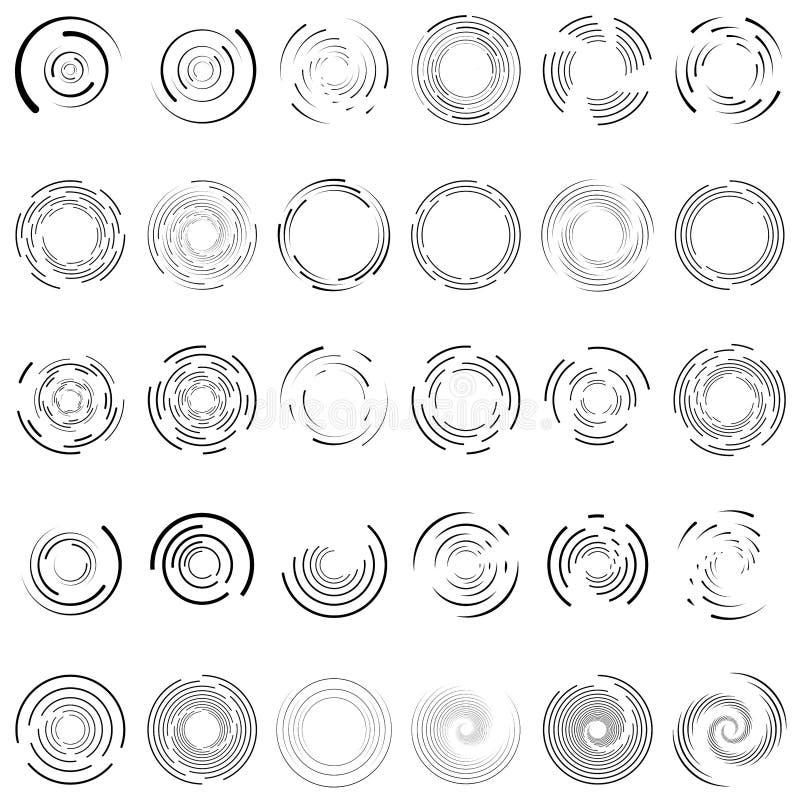 Virvel, spiral, virvelcirkel 30 Random, radiella, radiella linjer Volymer, illustration av helix-uppsättning Concentriska ringar stock illustrationer
