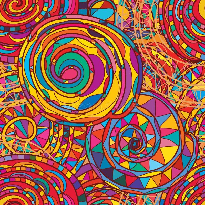 Virvellinje mycket färgrik sömlös modell stock illustrationer