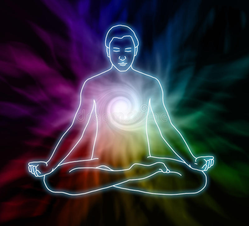 Virvelmeditation stock illustrationer
