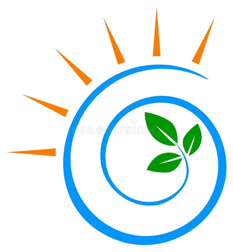 Virveln lämnar sollogodesign stock illustrationer