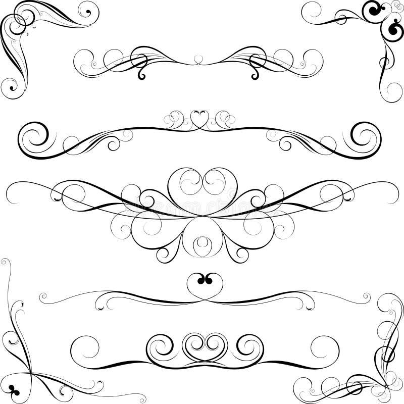 Virveluppsättning av dekorativa beståndsdelar royaltyfri illustrationer