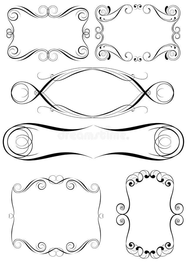 Virveluppsättning av ramdesignen royaltyfri illustrationer