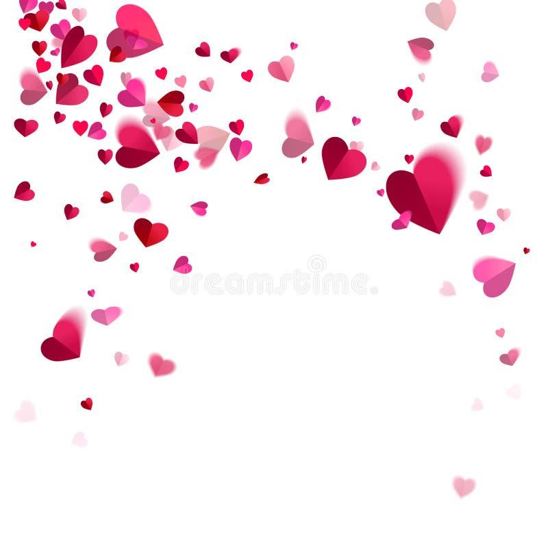 Virvelvindkonfettier av hjärtor stock illustrationer