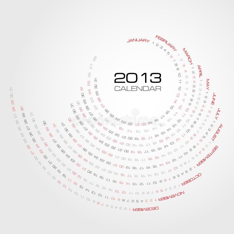 Virvla runt kalendern 2013 stock illustrationer