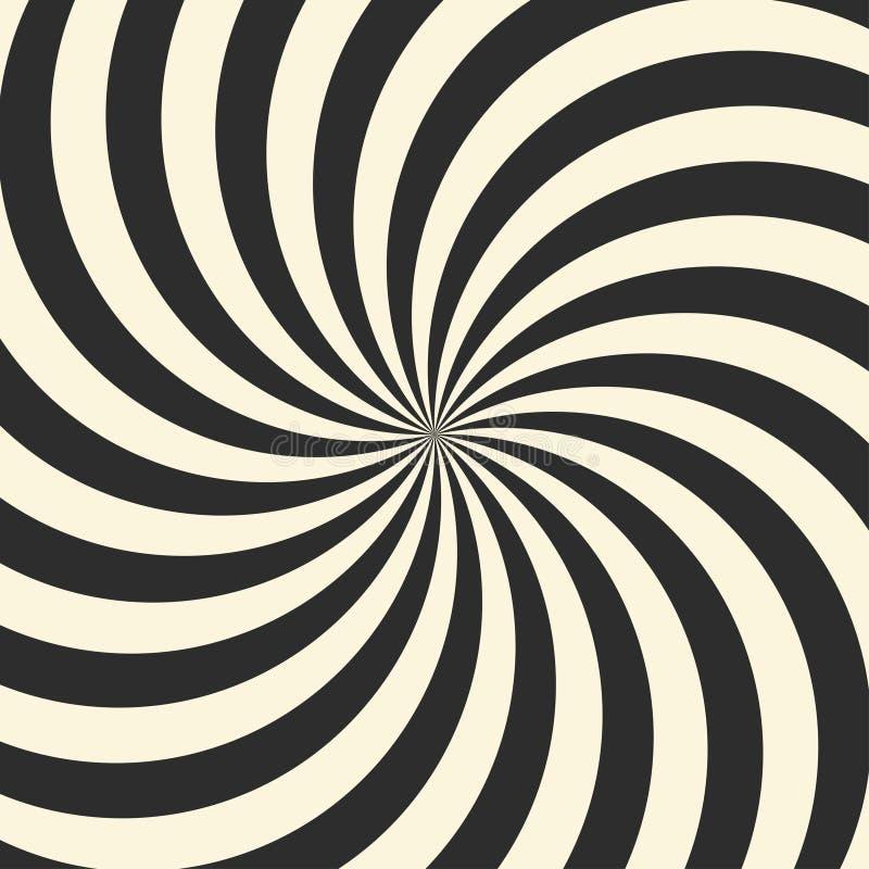 Virvlande runt radiell virvelbakgrund Vit- och svartband som virvlar runt runt om mitten av fyrkanten vektor illustrationer