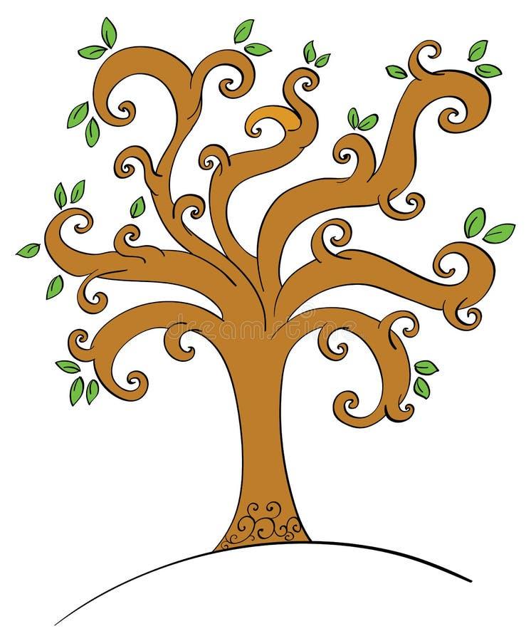 Virvlande runt träd royaltyfri illustrationer