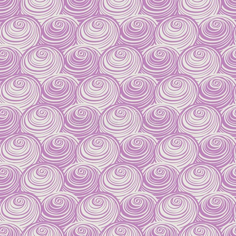 Virvlar den purpurfärgade rosa färgen runt för vektorn spiralrepetitionmodellen Göra perfekt för tyg och att scrapbooking, tapetp vektor illustrationer