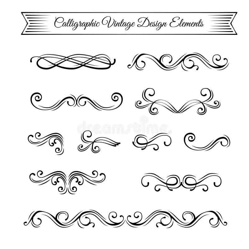 Virvlar swashes, snirklar Utsmyckade filigrangränser Krusidullramar ställ in swirls vektor royaltyfri illustrationer