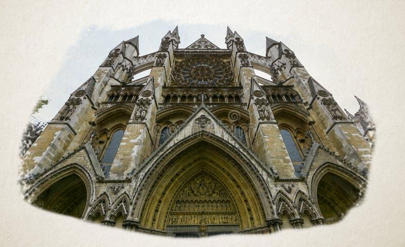 Visão artística da fachada norte Westminster Abbey London fotos de stock