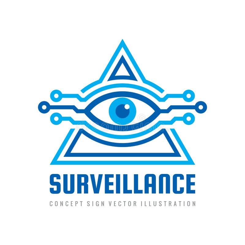Visão da tecnologia de segurança da fiscalização - conceito do vetor do projeto do logotipo Olho humano no sinal abstrato da form ilustração stock