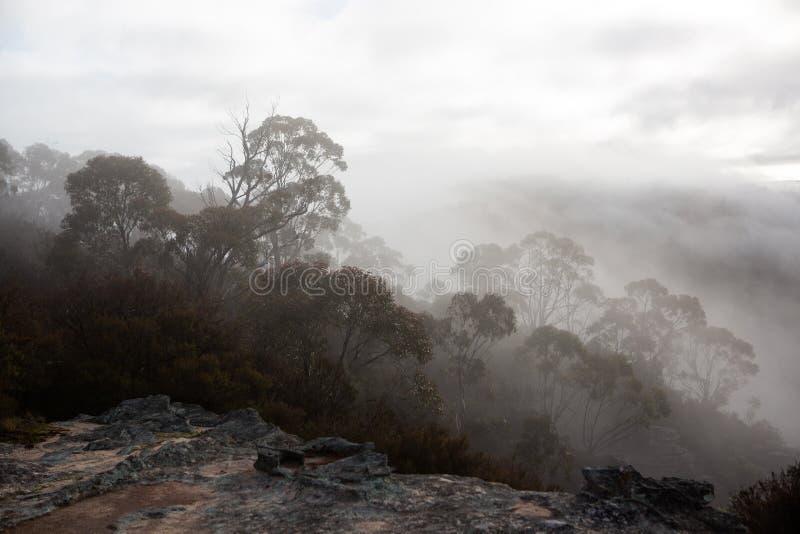 A visão das montanhas circundantes e do nevoeiro nos vales, a partir de Hassans Walls Lithgow, Nova Austrália do Sul de Gales, e foto de stock