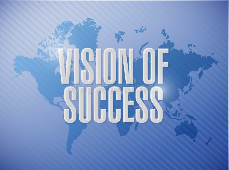 visão do conceito do sinal do mapa do mundo do sucesso ilustração do vetor