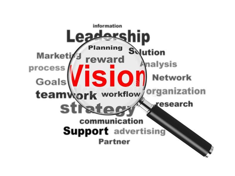 Visão e lupa do negócio ilustração do vetor