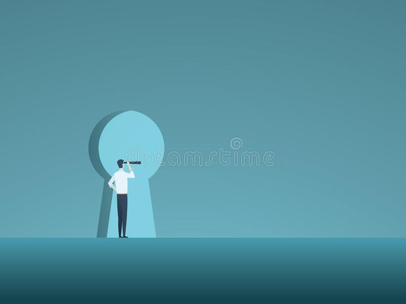 A visão e a solução do negócio vector o conceito com o homem de negócio que olha através do buraco da fechadura Símbolo da inovaç ilustração do vetor