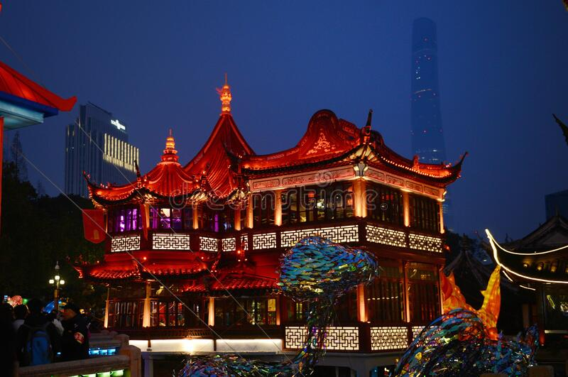 Visão noturna de Yuyuan imagem de stock royalty free