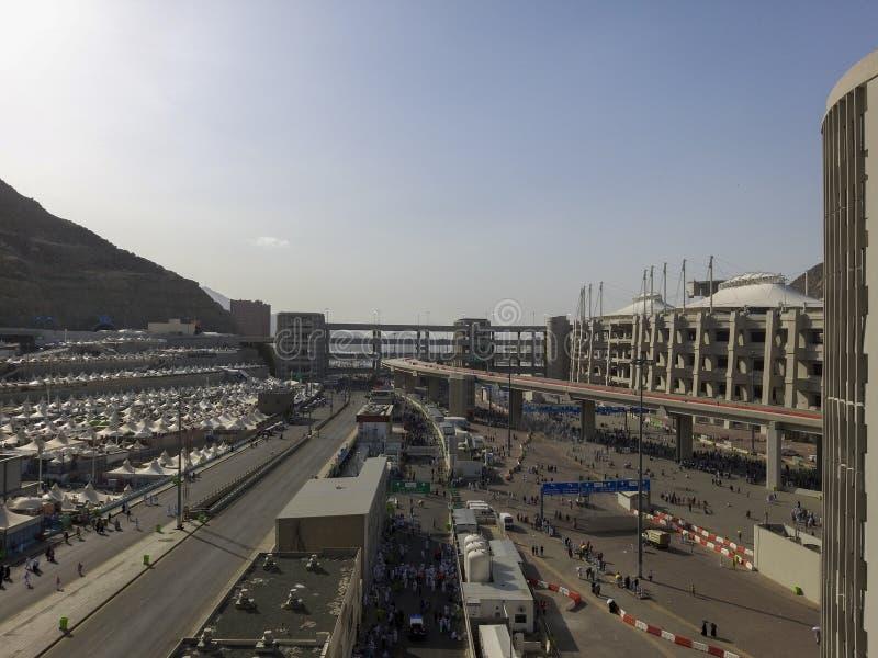 Visão superior do composto geral para ritual de 'apedrejamento do diabo' somente durante a estação hajj em Mina, Arábia Saudita C fotografia de stock royalty free