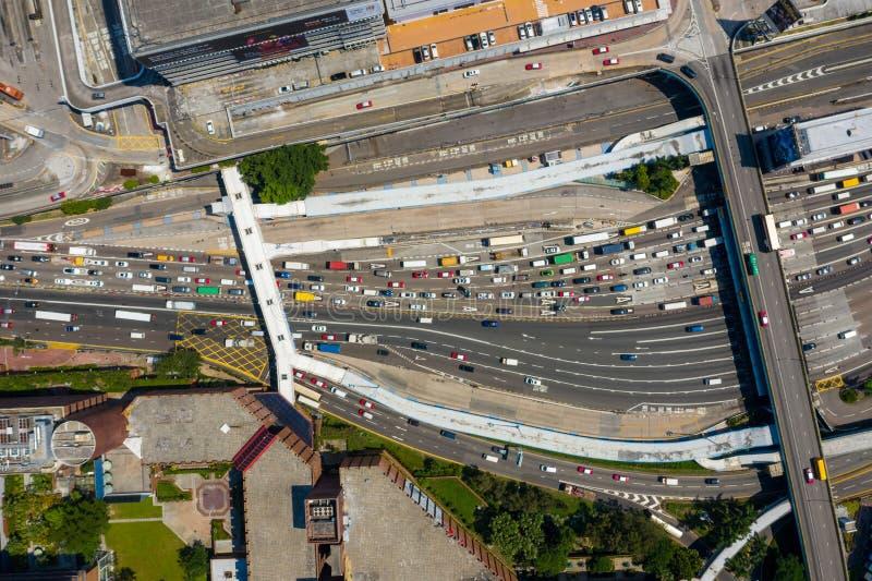 Visão superior do tráfego de Hong Kong imagens de stock royalty free