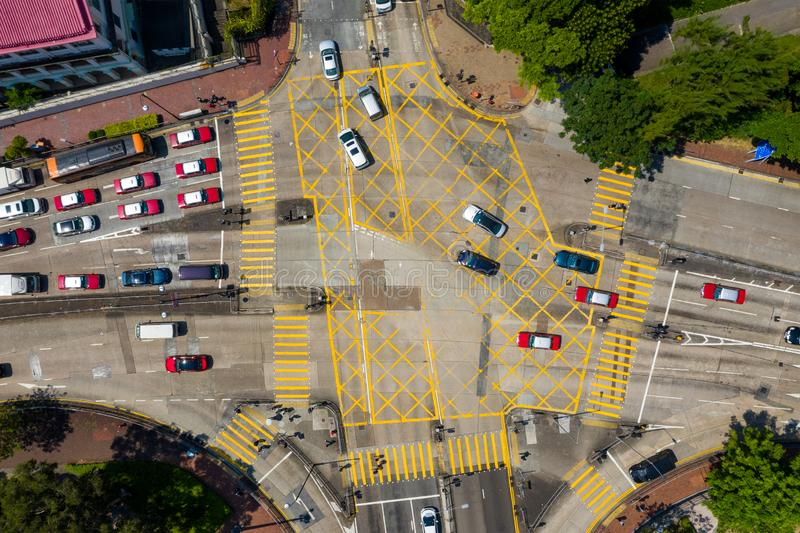 Visão superior do tráfego de Hong Kong imagem de stock royalty free