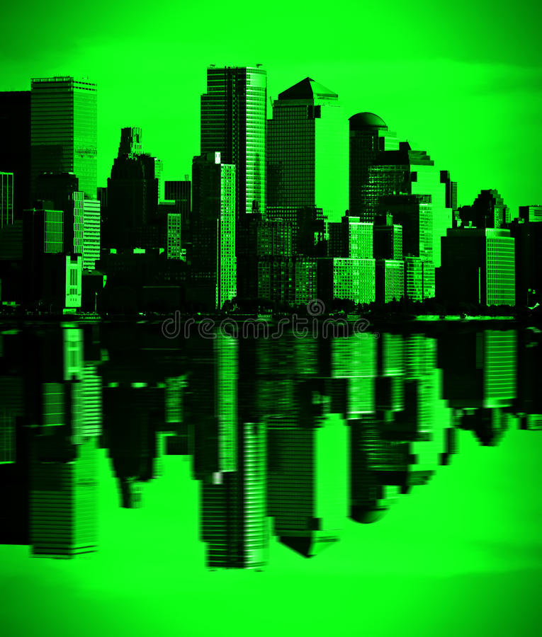 Visão verde New York da baixa, nyc da noite ilustração do vetor