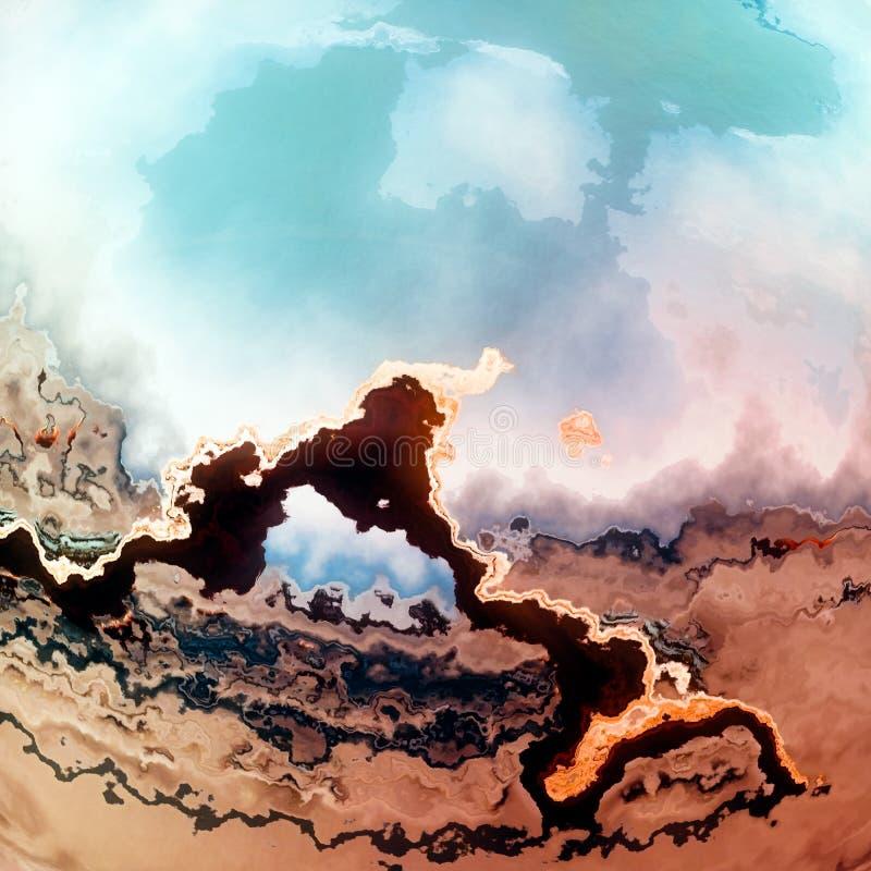 Visão vulcânica da paisagem da fantasia do lago do deserto ilustração stock