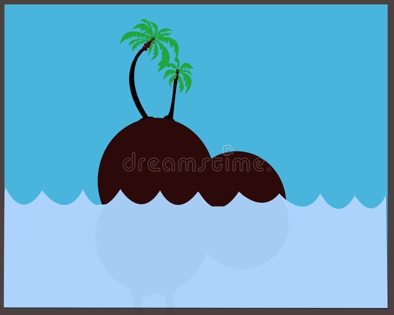 Visées de la mer, des îles et des arbres de noix de coco illustration stock