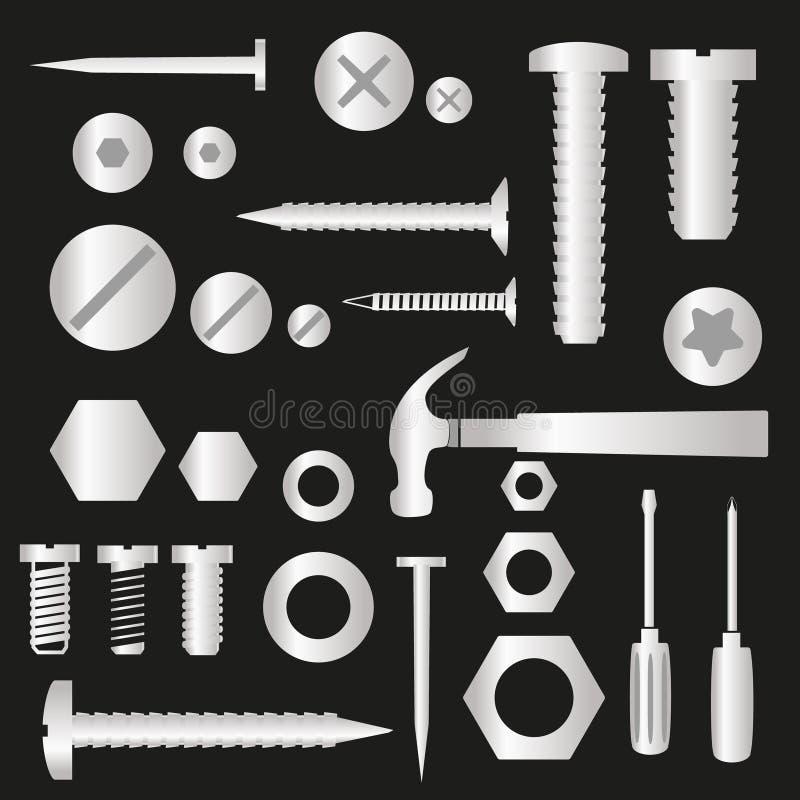 Vis et clous argentés de matériel avec les symboles eps10 d'outils illustration stock