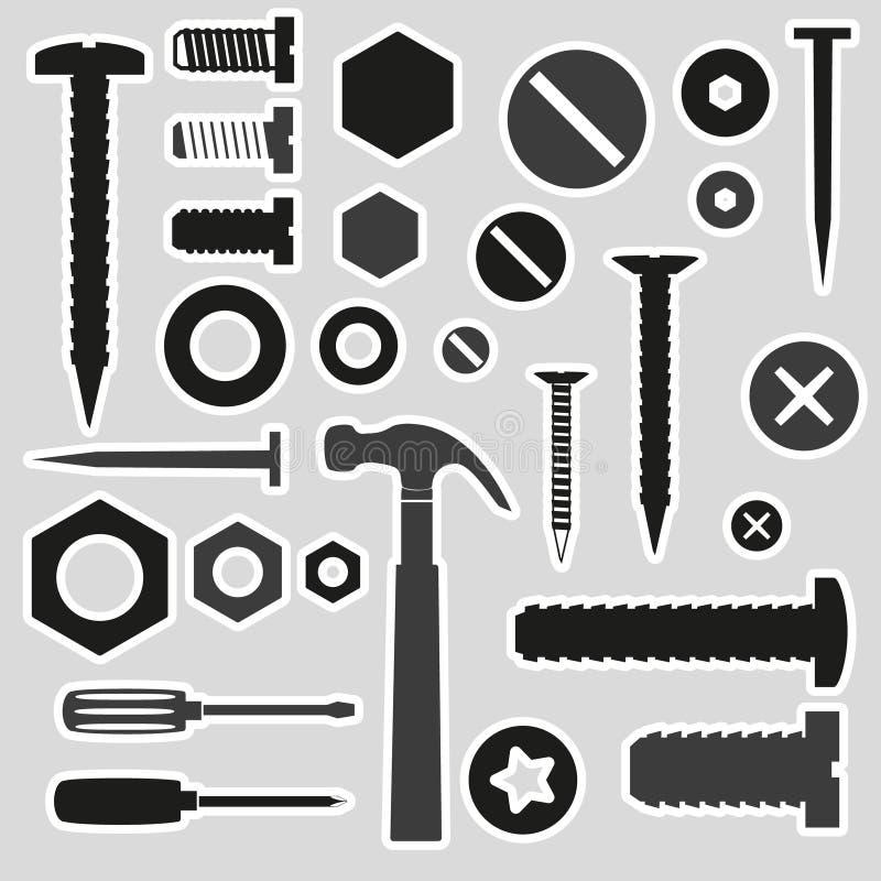 Vis et clous de matériel avec des autocollants d'outils illustration stock