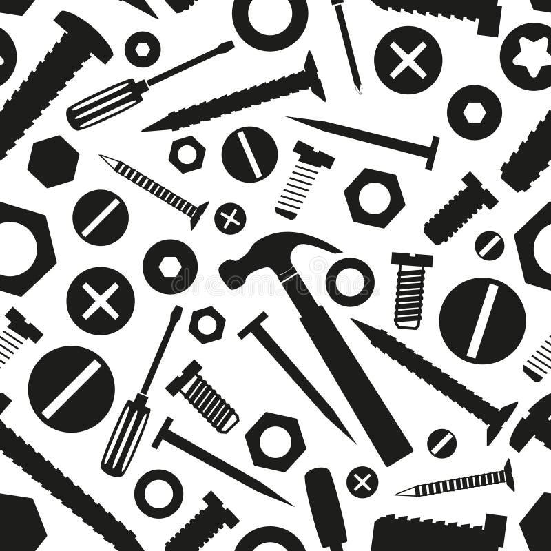 Vis et clous de matériel avec le modèle sans couture d'outils illustration libre de droits