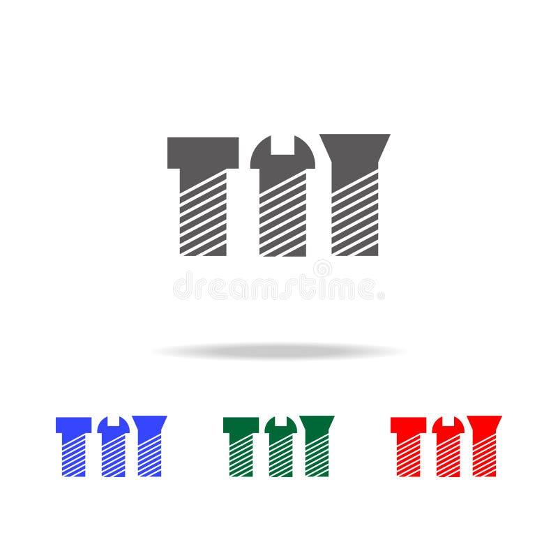 Vis, icône de boulons Les éléments de la construction usine les icônes colorées multi Icône de la meilleure qualité de conception illustration libre de droits