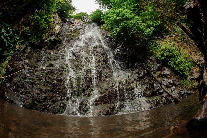 Vis-oog landschap van de mooie waterval in het bos royalty-vrije stock fotografie