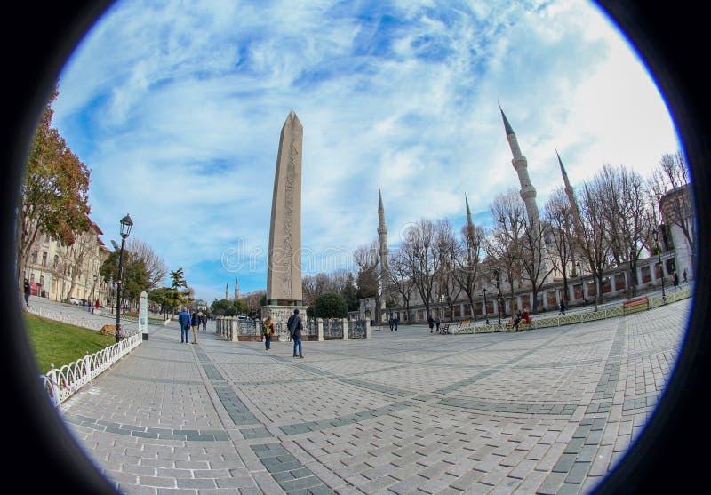 Vis-oog obelisk in Sultanahmet-Vierkant, Istanboel, Turkije stock afbeelding