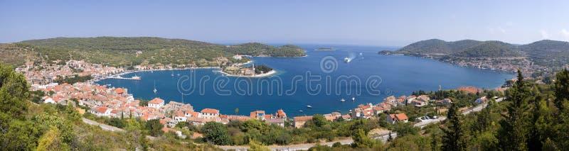 Vis Town, Croatia. Panoramic view of Croatian Town Vis stock photos