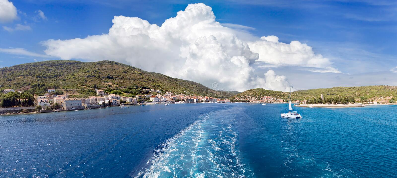 Vis town panorama. Panoramic view of croatian town Vis stock image