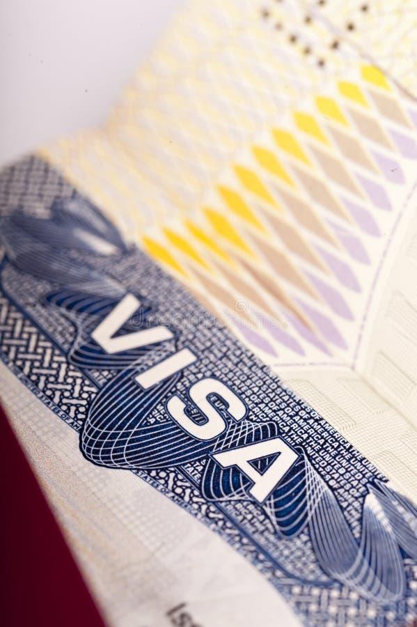 Visa. Close up of the word visa on an american visa stock photos