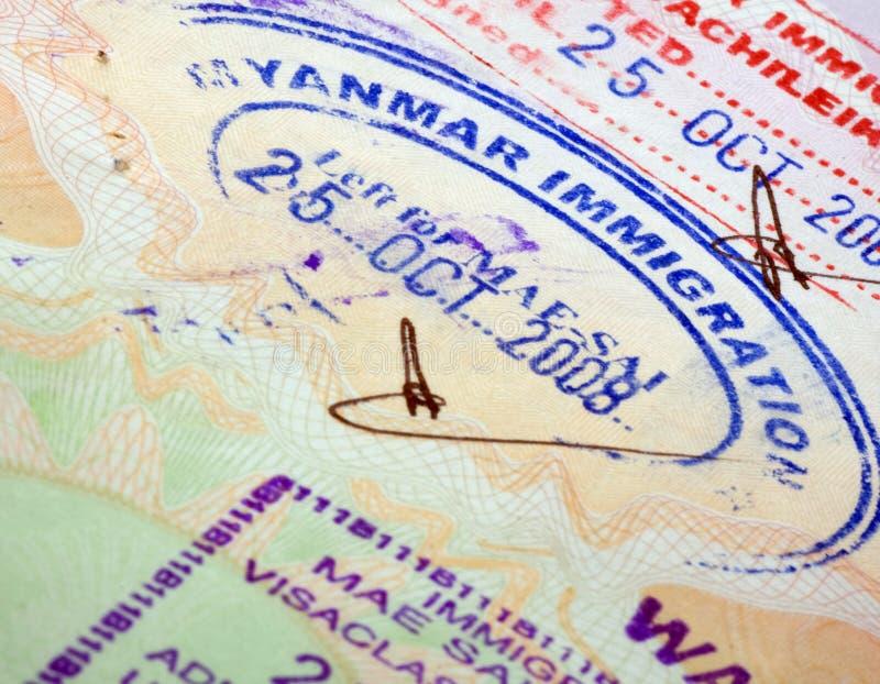 Visa. Myanmar visa close up(travel asia royalty free stock photos