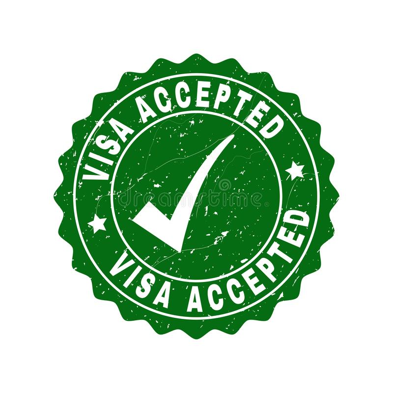Visa Accepted Scratched Stamp with Tick stock illustration