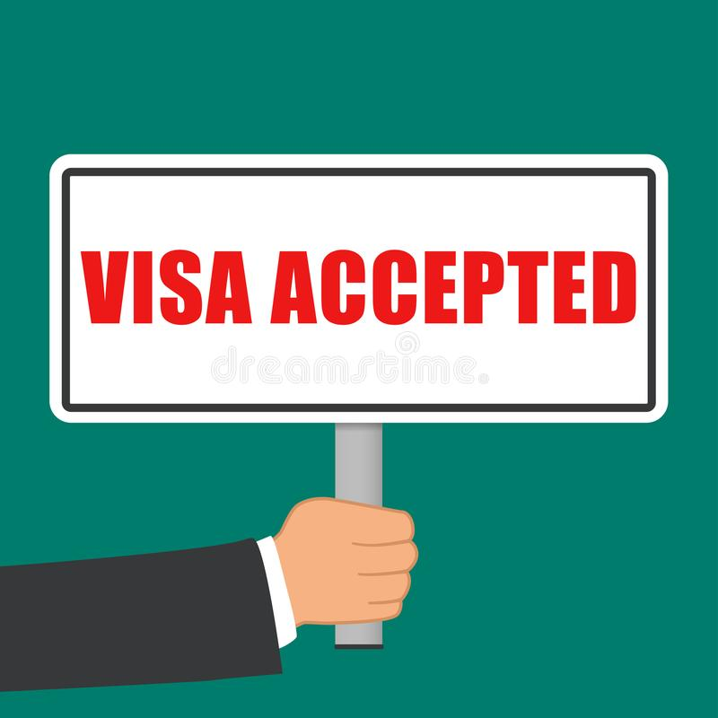 Visa accepted sign flat concept vector illustration