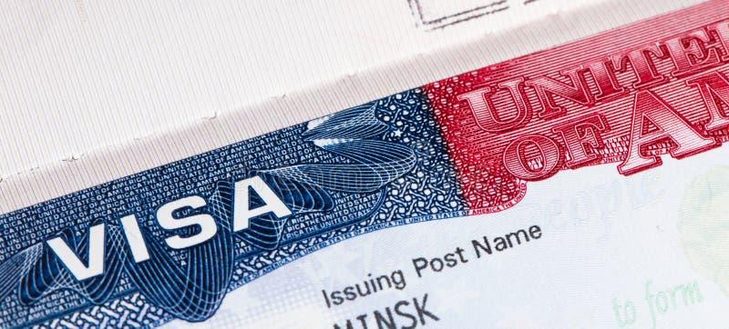 Visa américain de voyage dans le passeport photos libres de droits