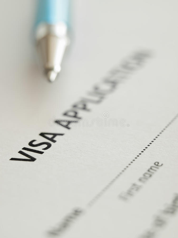 VIsa application. Form with pen, shallow DOF,for immigration,travel,social issues themes stock photo