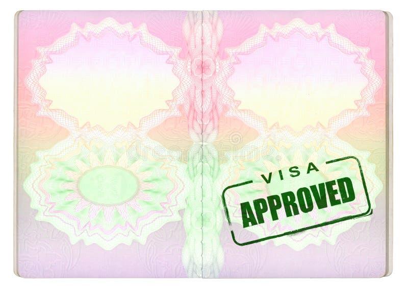 Visa approuvé sur le passeport illustration stock
