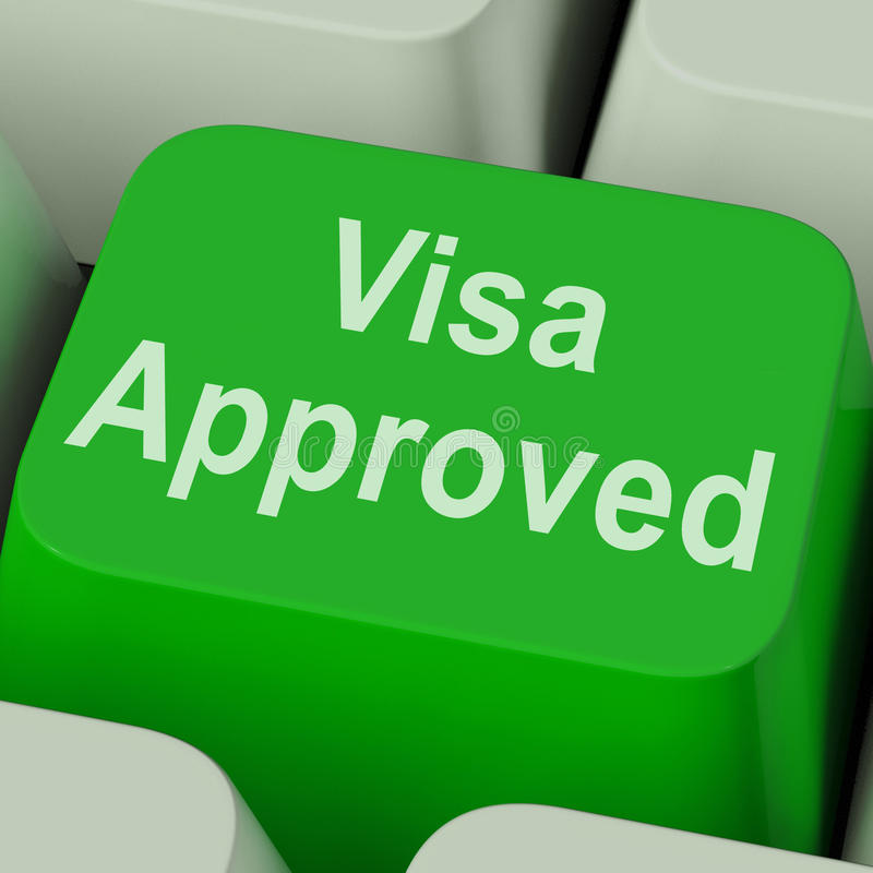 Visa Approved Key Shows Country Admission Authorized. Visa Approved Key Showing Country Admission Authorized royalty free stock image