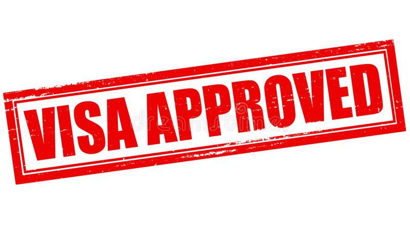 Visa approved. Stamp with text visa approved inside, illustration stock photography